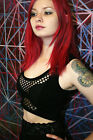 Fishnet Front Crop Top XS S M L cotton spandex goth gothic tank sheer cabaret