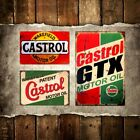 VINTAGE STYLE METAL ADVERTISING SIGN GARAGE WALL PLAQUE * CASTROL GTX MOTOR OIL*
