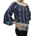 Lace Hem Neck Blouse Crew neck Shirt Scalloped Cuffs Top Aztec 3 Quarter Sleeve