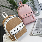 Women PU Leather Straw Weaving Mini Rivet Backpack Casual Girls School Bag Bags
