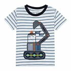 Bluezoo Kids Boys' White Striped Digger Applique T-Shirt