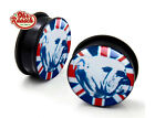 Acryl Plug / Tunnel Englische Bulldogge Hund Union Jack Flagge Punkt 6- 25mm