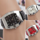 Women's Rhinestone Barrel Shape Case Faux Leather Band Analog Wrist Watch Natura