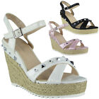 Womens Ladies Studded Hessian Espadrilles New Platform Shoes Wedges Sandals Size