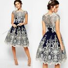 Women Vantage Lace Floral Short Sleeve Evening Formal Cocktail Party Dress A053