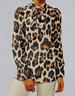 Pussy Bow Tie Neck Animal Leopard Print Blouse Shirt  Size 8-18