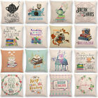 "18"" Enjoy Time Square Sofa Cushion Cover Tea Books Art Printed Linen Pillow Case"