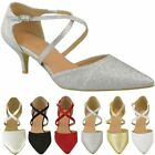 Womens Ladies Low Kitten Heel Party Prom Strappy Court Shoes Bridal Sandals Size
