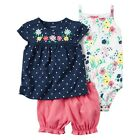 Carters Baby Girl Clothes 3-Piece Bubble Shorts Set Navy Pink Floral Summer NWT