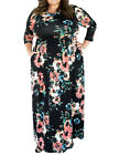 Plus Size Comfort Sleek Black Flared Long Long Hemline Floral Dress Outfits