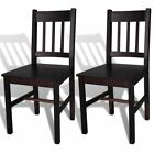 vidaXL Dining Chair Side Seat Brown Solid Pine Wood Kitchen Living Room 2/4/6