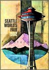 World's Fair 1962 Seattle WA. Space Needle United Airline Vintage Poster Print