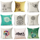 Simple & Fresh Dandelion Linen Pillow Case Throw Cushion Cover Home Decor 18""