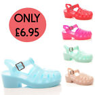 Ladies Womens Block Heel Chunky Buckle Summer Jelly Strappy Sandal Shoe Size 3-8