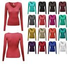 FashionOutfit Women's Basic Solid V-Neck Henley Lace Long Sleeves Thermal Tee