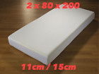 2 X 80 X 200 BUNK BED MATTRESSES 11CM OR 15CM DEPTH WITH WASHABLE ZIP COVERS