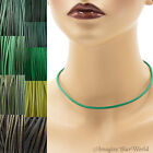 3 mm Green Leather Cord Necklace or Choker Custom Length pck colors Handmade USA