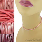 2 mm Pink Leather Cord Necklace or Choker Custom Length pick colors Handmade USA