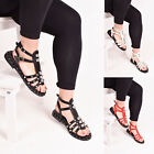Ladies Womens Summer Sandal Spike Studed Buckle Strap Flat Holiday Shoe Size 3-8