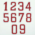 Red Number 0-9 Sports Hat Sew Iron on Patch Clothes Embroidered Patch Appliques