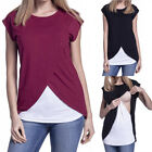 Maternity Clothes Breastfeeding Tops Nursing T-shirt Double Layer Pregnant Women