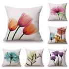 18x18'' Ink Painting Flowers Cotton Linen Pillow Case Tulips Sofa Cushion Cover  image