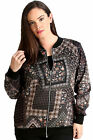 New Womens Plus Size Jacket Bomber Ladies Geometric Floral Print Ribbed Zip Long