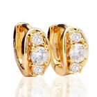 VALENTINE Special Gifts Women Yellow Gold Filled Crystal Hoops Earrings AU091 Z5