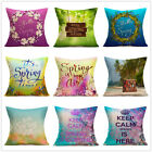 "18"" Spring Theme Home Decoration Linen Pillow Case Car Sofa Waist Cushion Cover image"