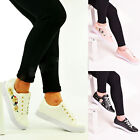 Ladies Womens Flat Trainers Lace Up Embroidered Flower Sneaker Pumps Shoes Size