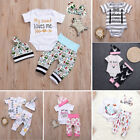 Baby Girl Boys Outfit Clothes Cotton Romper Jumpsuit Bodysuit Pant Hat Headband