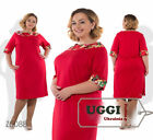 Beautiful Woman Shift Dress French knitted Short Sleeve Knee-Length 5XL- Plus