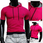 Mens Hooded PINK T-Shirt size Small only Cotton Athletic Slim Fit Stretchy SALE