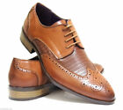 Mens Brogue Shoes Office Wedding Formal Casual Smart Italian Size Leather Lining