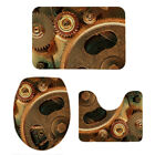 3PCS Bathroom Rugs Set Mechanical Gear Print Bath Rug Toliet Lid Cover& Contour