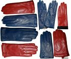 dressy gloves - New Women's dressy Leather Gloves,  Red/Turquoise Blue Leather Winter Gloves #19