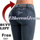 Colombian JEANS Mid Rise Pencil Stretch Push Up ALL SIZES butt lift levanta cola