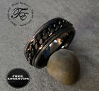 Personalized Engraved Black Chain Spinner Mens Wedding or Promise Band Ring