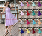 New Chiffon Lace Short Evening Formal Party Ball Gown Prom Bridesmaid Dress 6-18