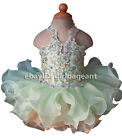 Внешний вид - Infant/toddler/baby Crystals Sequins Lace Pageant Glitz Dress Mint Green G040-8