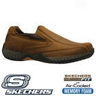 MENS SKECHERS LEATHER CLASSIC FIT MEMORY FOAM SLIP ON WALKING TRAINERS SHOES