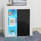 Freestanding Cabinet Storage Cupboard Display Shelf Sidboard Gloss Stand + Light