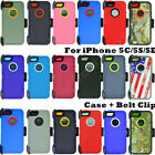 For Apple iPhone 5C/5S/SE Defender Case Cover (Belt Clip Holster Fits OtterBox)