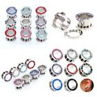 1 Pc Rhinestone Crystal Screw Tunnels Ear Expander Stretch Plugs Piercing Gauge