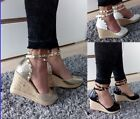 WOMENS MID Heel 8CM WEDGE SHOES SANDALS STRAPPY ANKLE STRAPS STUD