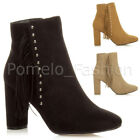 WOMENS LADIES HIGH HEEL FRINGE TASSEL STUDDED CASUAL SMART ANKLE BOOTS SIZE