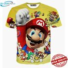 New Yellow T-Shirt Men/Women 3D Mario Funny Print Video Game Cartoon Fashion Tee