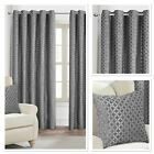Rapport Palermo Silver Fully Lined Eyelet Curtains 4 Sizes