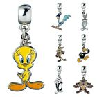 Looney Tunes Cartoon Character Silver Plated Enamel Slider On Charm for Bracelet