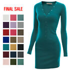 [FINAL SALE]DOUBLJU Womens Long Sleeve Henley Neck Stretch Casual Mini Dress
